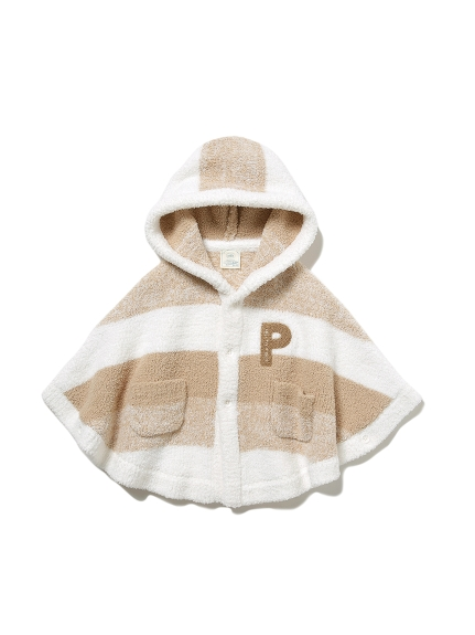 【BABY】 'ベビモコ'メランジボーダー baby ポンチョ(BEG-70)