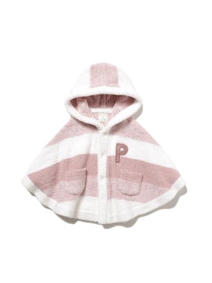 【BABY】 'ベビモコ'メランジボーダー baby ポンチョ(PNK-70)
