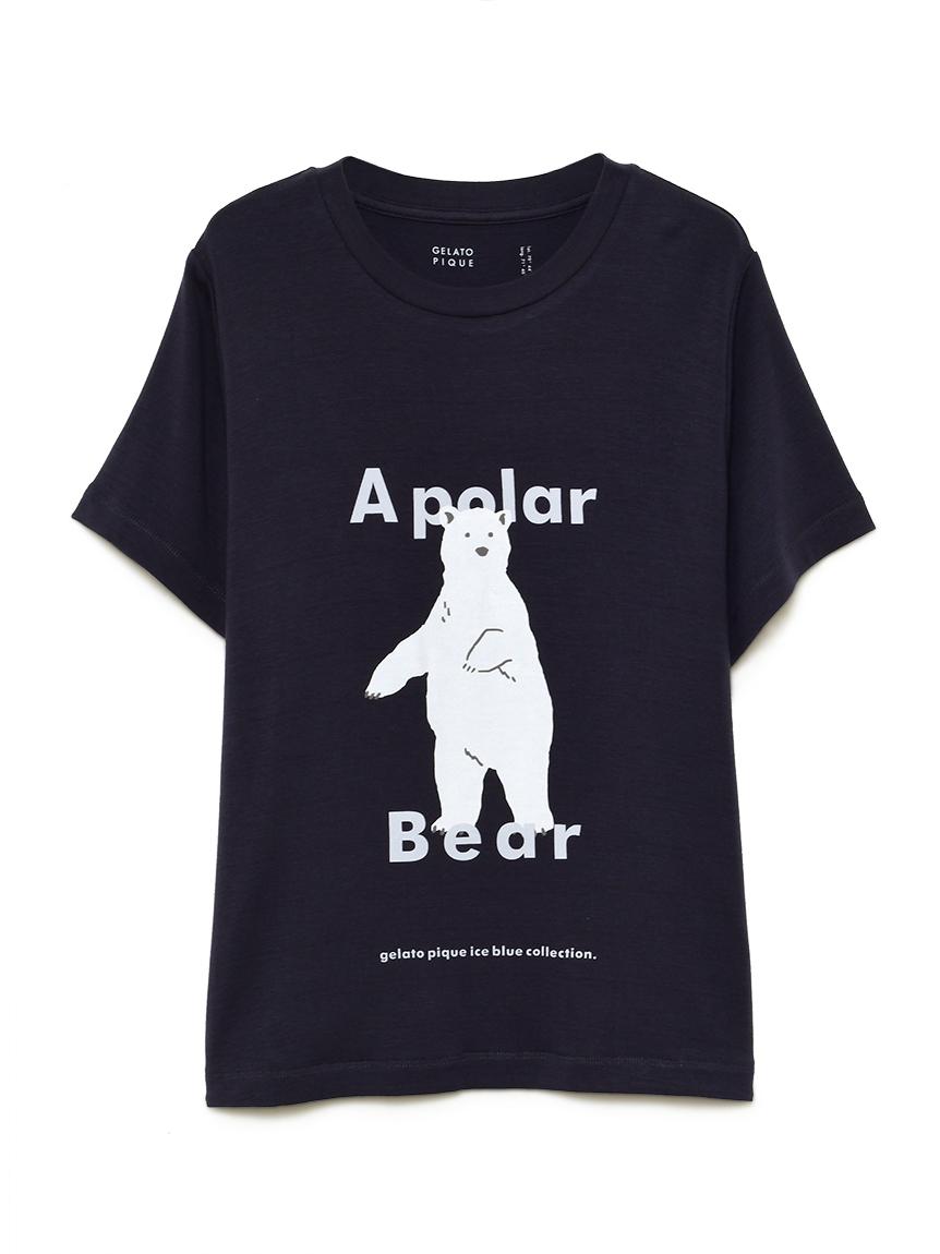 【オフィシャルオンラインストア限定】【junior】【シロクマ】シロクマワンポイント冷感ジュニアTシャツ(NVY-130-140)