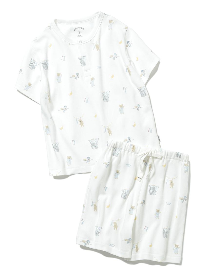 【オフィシャルオンラインストア限定】【junior】モーニングベア柄Tシャツ&ハーフパンツSET(OWHT-130-140)