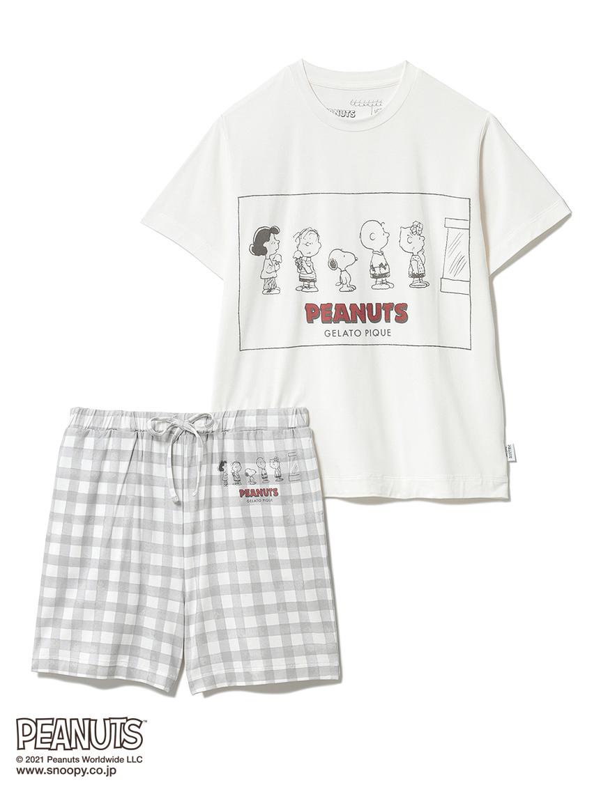 【オフィシャルオンラインストア限定】【PEANUTS】【junior】Tシャツ&ギンガムショートパンツSET(OWHT-130-140)