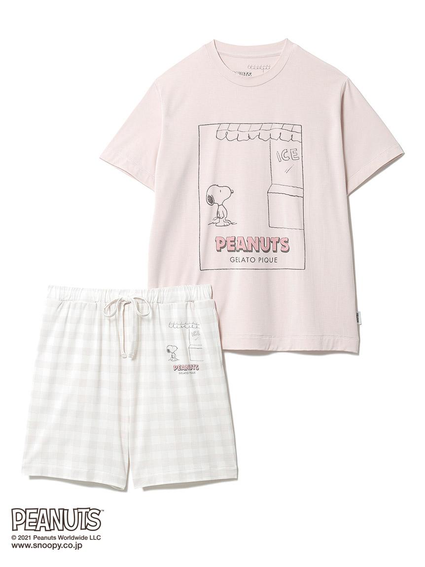 【オフィシャルオンラインストア限定】【PEANUTS】【junior】Tシャツ&ギンガムショートパンツSET(PNK-130-140)