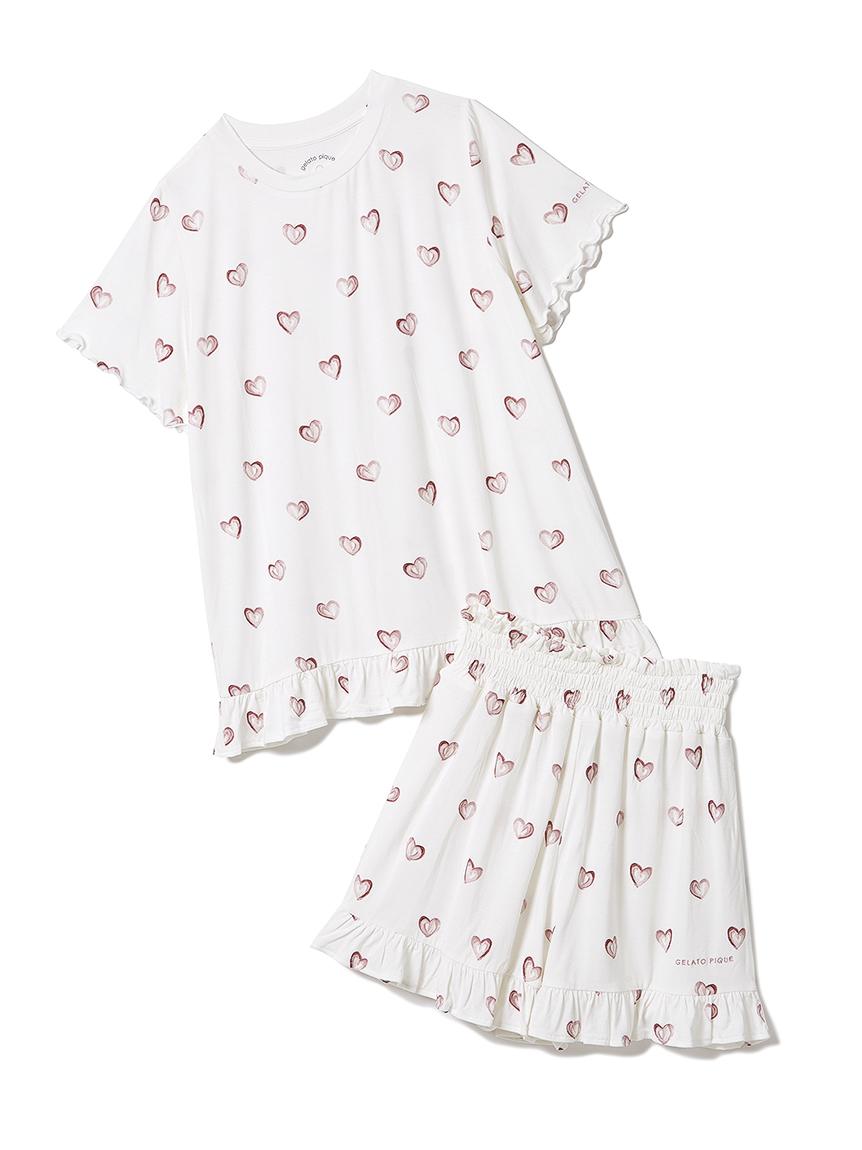【オフィシャルオンラインストア限定】【junior】ハート柄Tシャツ&ショートパンツSET