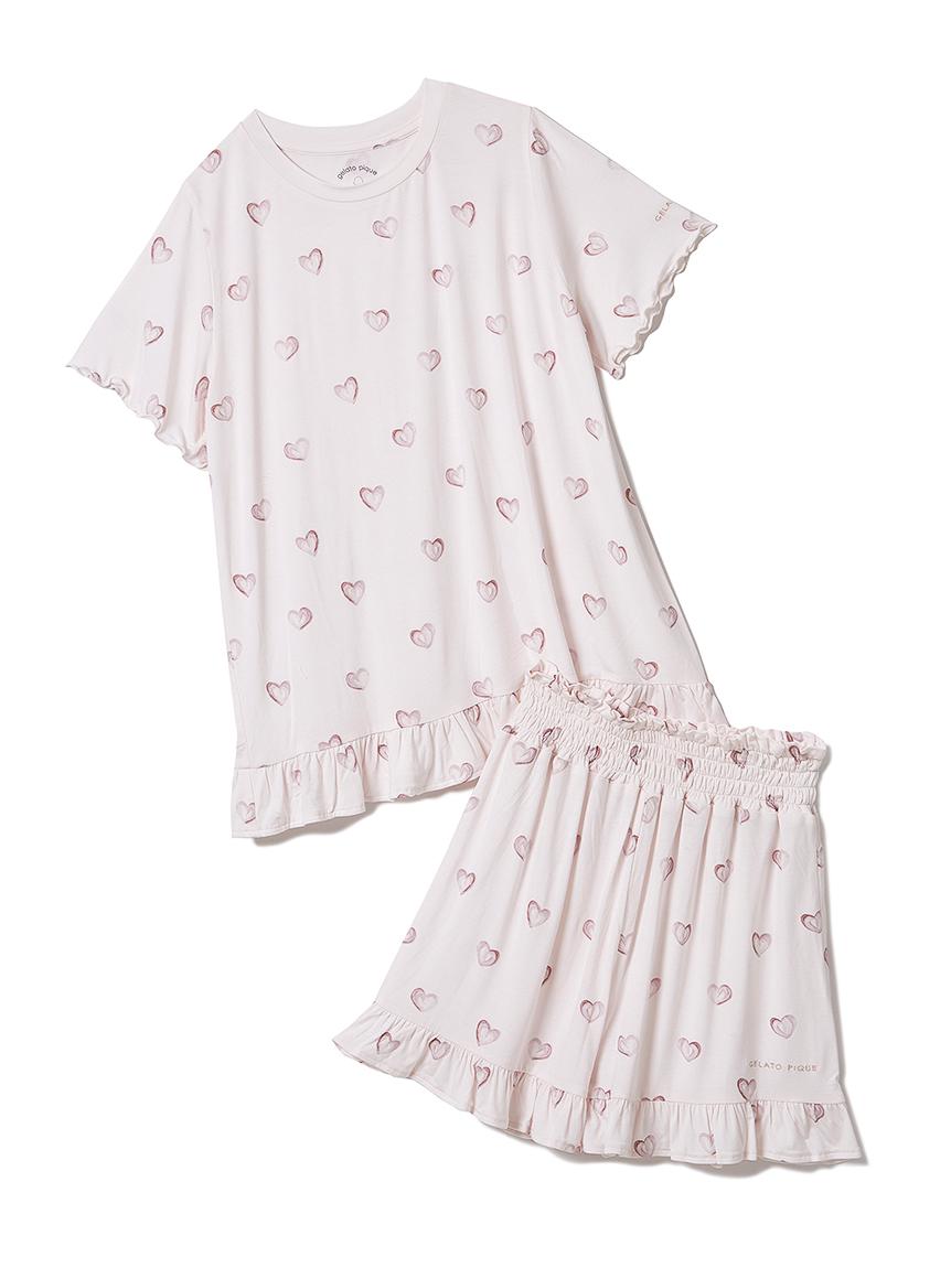 【オフィシャルオンラインストア限定】【junior】ハート柄Tシャツ&ショートパンツSET(PNK-130-140)