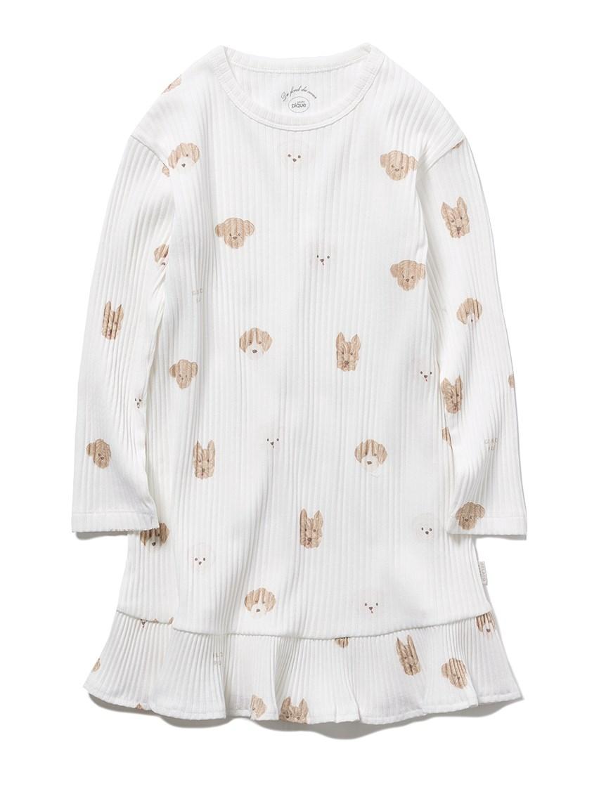 【KIDS】メレンゲドッグ柄 kids ドレス(OWHT-XXS)