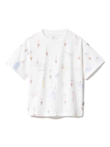 【KIDS】アイスクリームアニマル kids Tシャツ(OWHT-XXS)