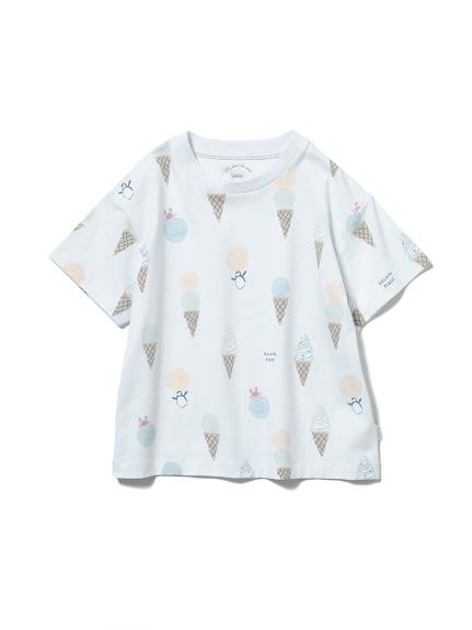 【KIDS】アイスクリームアニマルモチーフ kids Tシャツ(BLU-XXS)