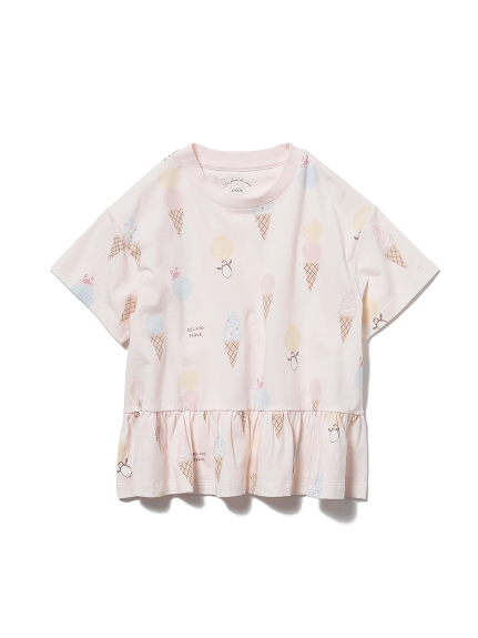 【KIDS】アイスクリームアニマルモチーフ kids フリルTシャツ(PNK-XXS)