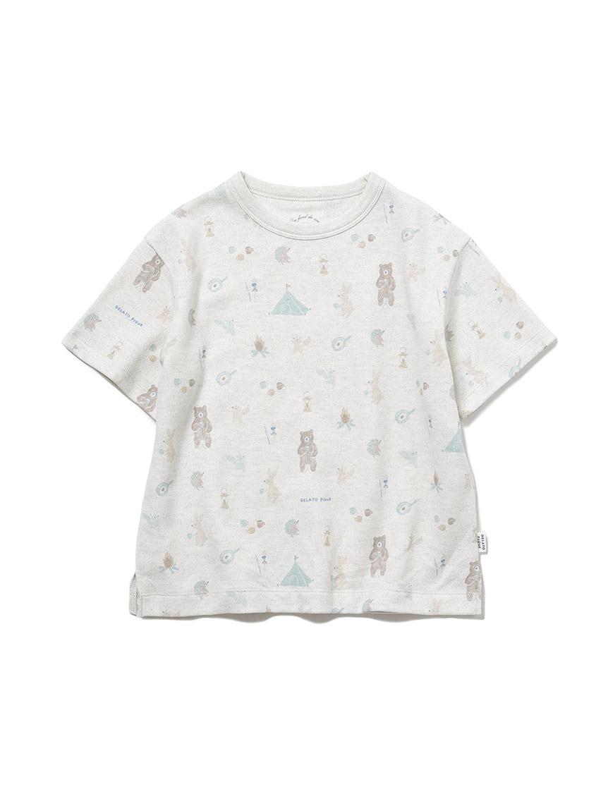 【KIDS】 アニマルキャンプモチーフ kids Tシャツ
