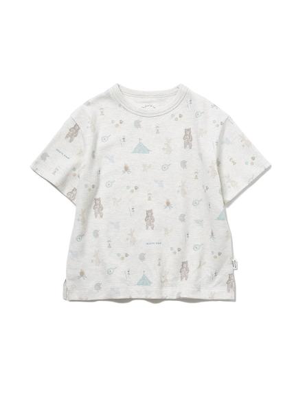 【KIDS】 アニマルキャンプモチーフ kids Tシャツ(GRY-XXS)