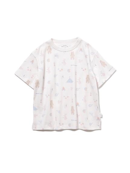 【KIDS】 アニマルキャンプモチーフ kids Tシャツ(PNK-XXS)