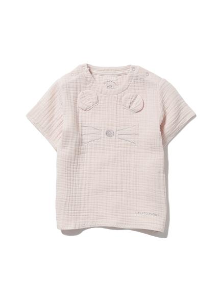 【KIDS】アニマルガーゼ kids Tシャツ(PNK-XXS)