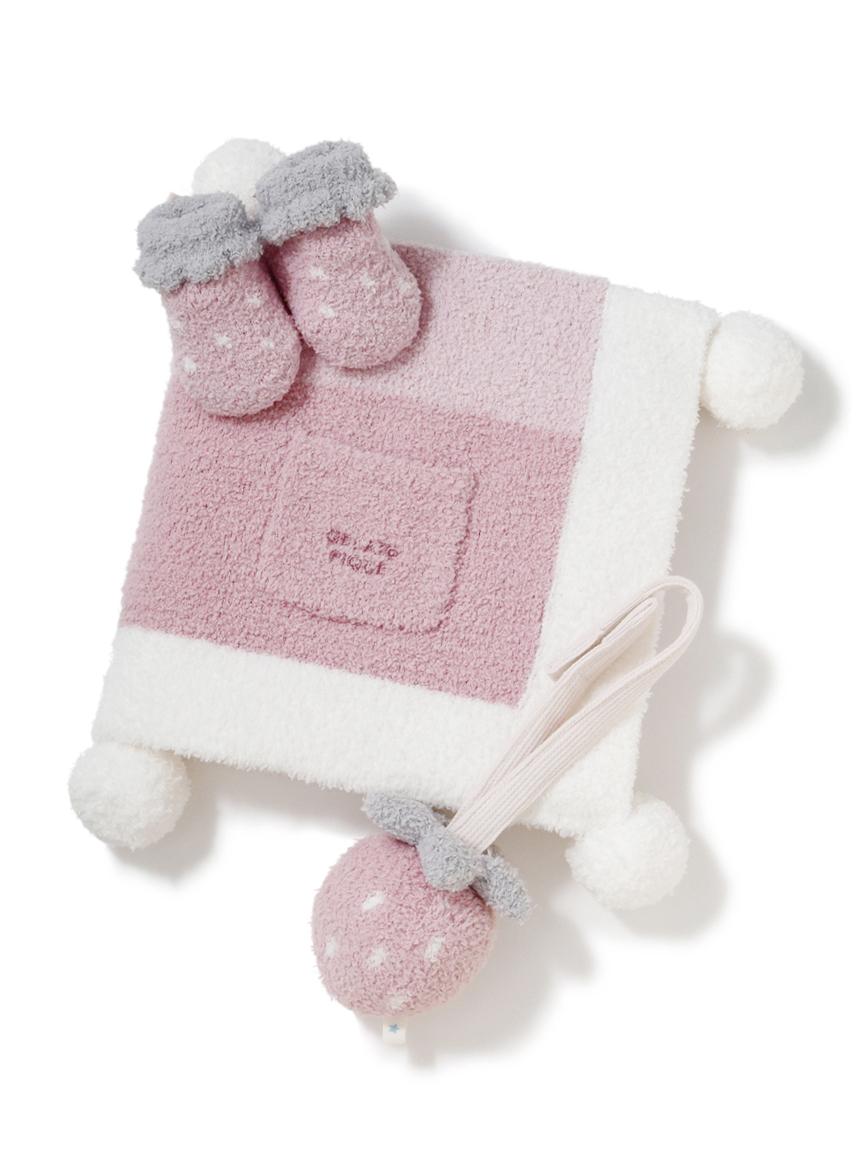 【ラッピング】Babyベビモコブロックブランケット&ソックス&ラトルSET(PNK-7)