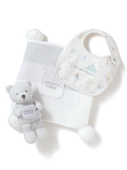 【ラッピング】リサイクル'スムーズィー'3ボーダー ブランケット&baby ラトル&アニマルキャンプモチーフ baby スタイSET(BLU-F)
