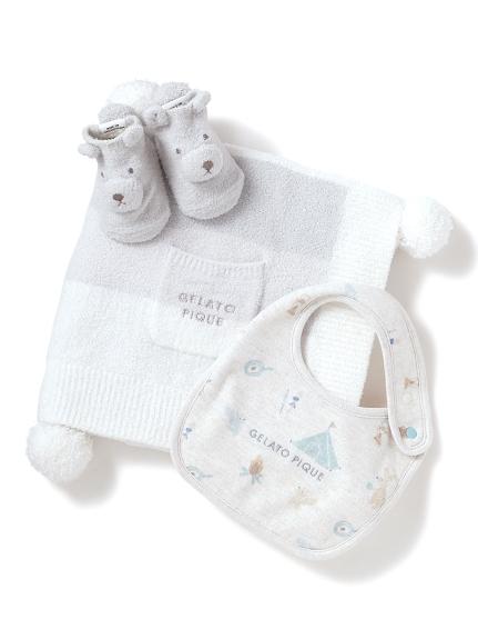 【ラッピング】【KIDS】 リサイクル'スムーズィー'3ボーダーブランケット&babyソックス&babyスタイSET(BLU-F)