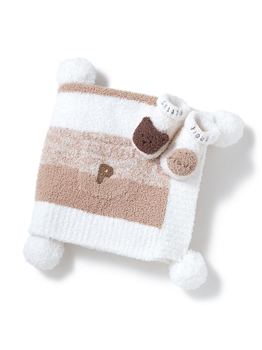 【ラッピング】【BABY】 ベビモコ'メランジボーダーブランケット&くまクッキー baby ソックスSET(BEG-F)