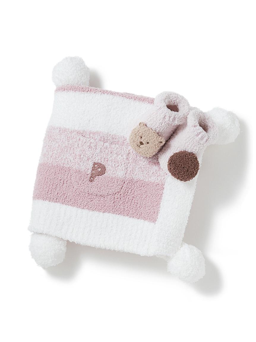 【ラッピング】【BABY】 ベビモコ'メランジボーダーブランケット&くまクッキー baby ソックスSET(PNK-F)