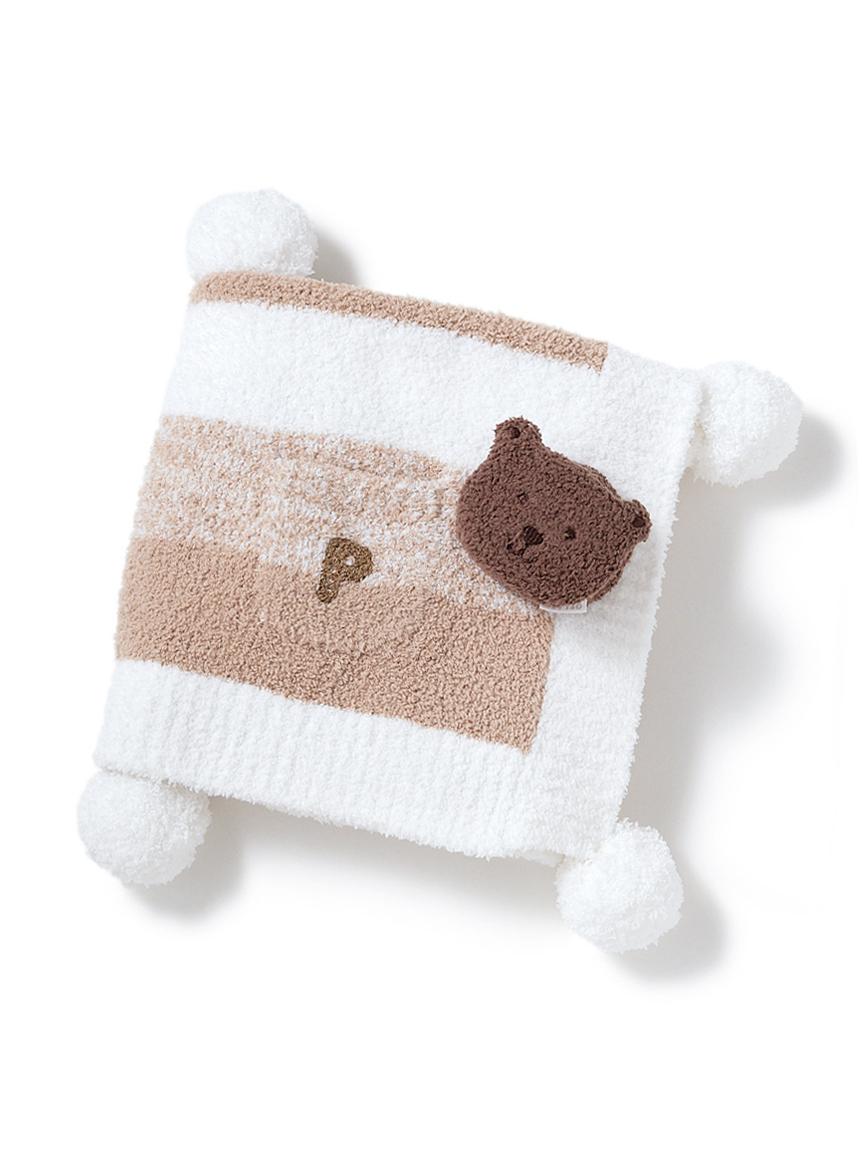 【ラッピング】【BABY】 ベビモコ'メランジボーダーブランケット&くまクッキー baby ラトルSET(BEG-F)
