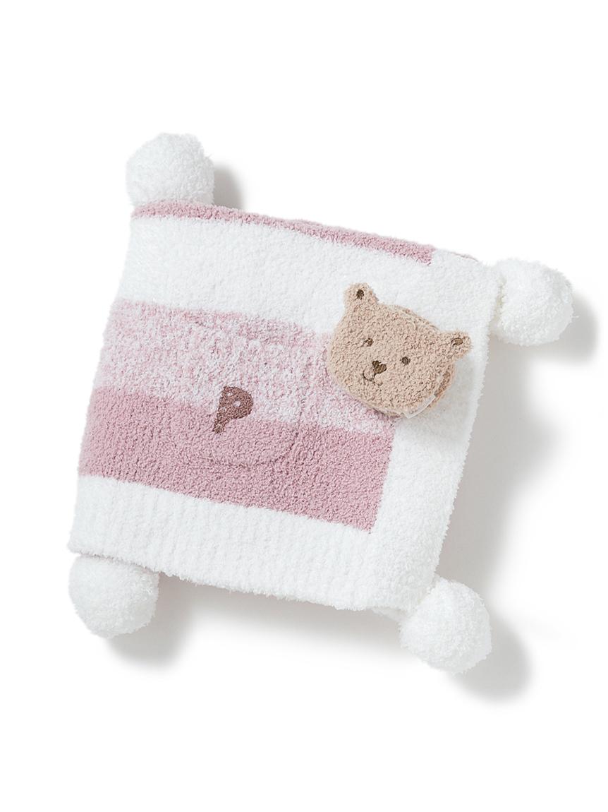 【ラッピング】【KIDS】 ベビモコ'メランジボーダーブランケット&くまクッキー baby ラトルSET(PNK-F)