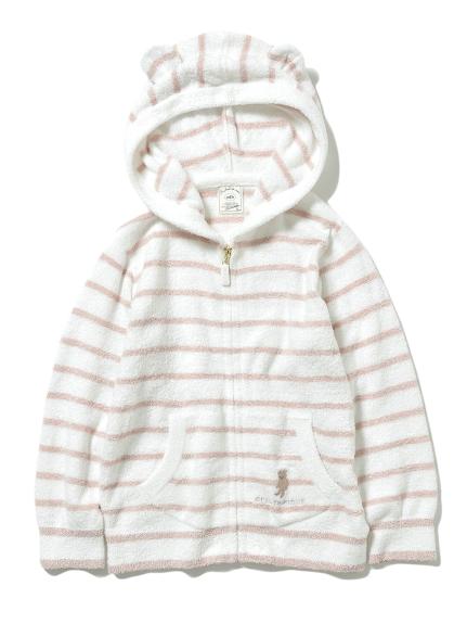 【KIDS】'スムーズィー'ベア刺繍ボーダー kids パーカ(PNK-XXS)