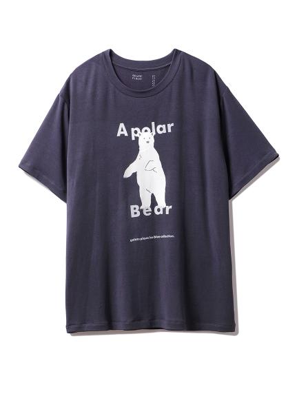 【シロクマフェア】HOMMEワンポイント冷感Tシャツ(NVY-M)