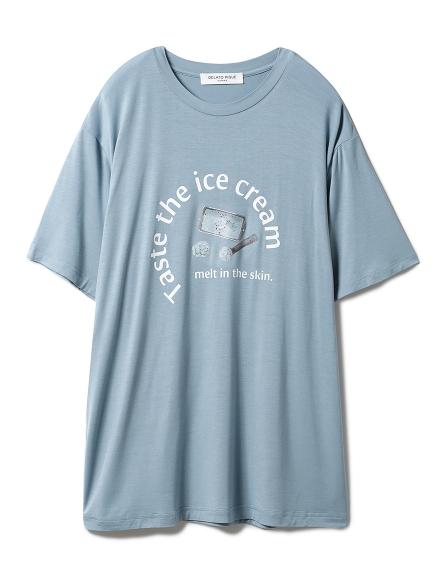 【GELATO PIQUE HOMME】レーヨンロゴTシャツ(BLU-M)