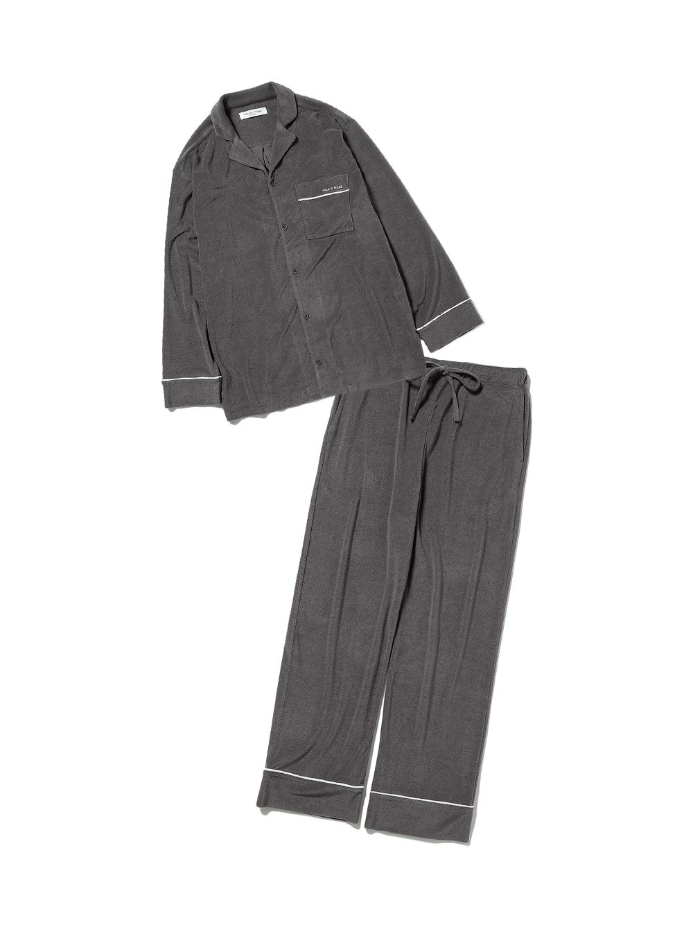【ラッピング】【HOMME】パイルシャツ&ロングパンツSET(DGRY-M)