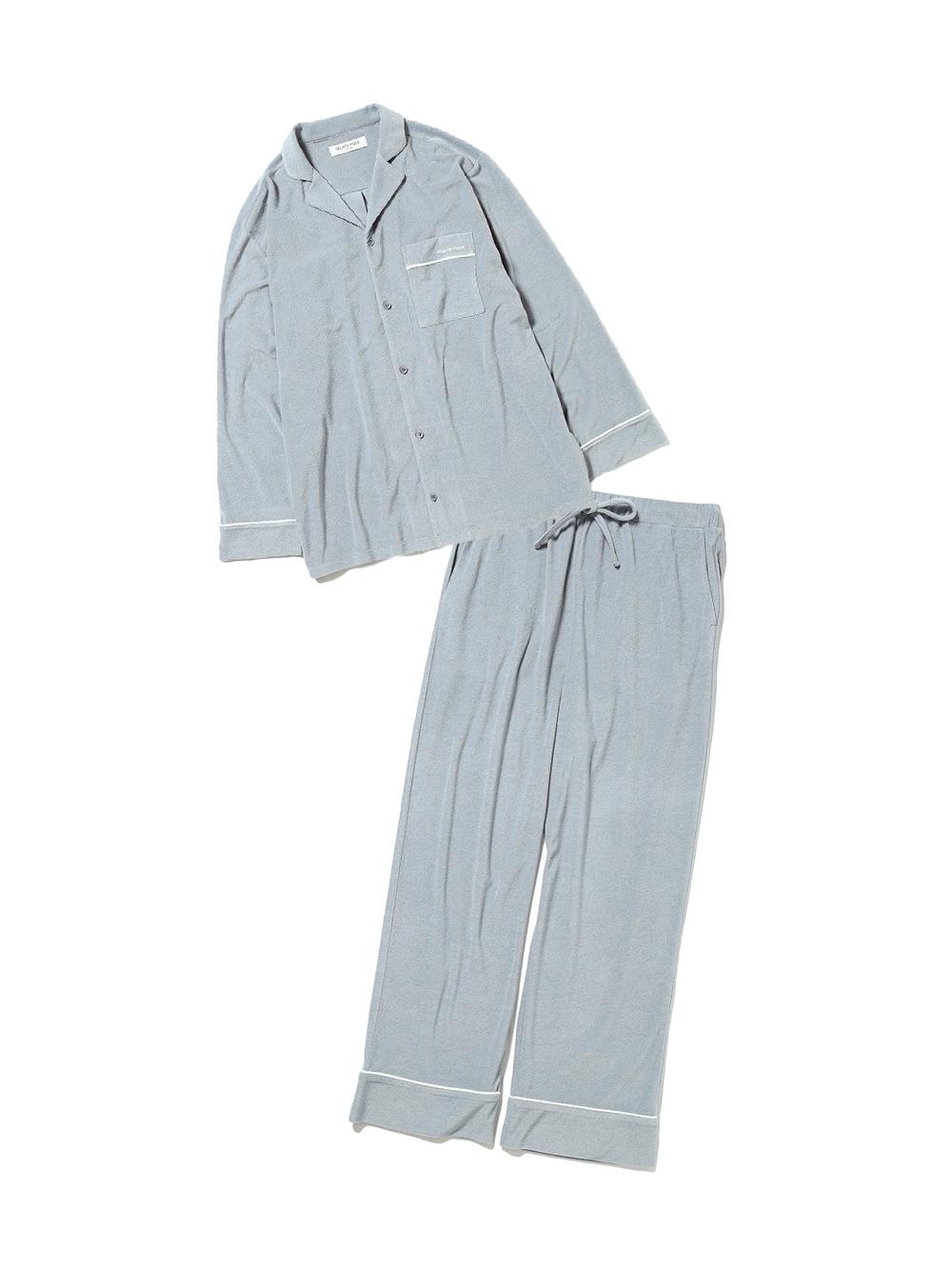 【ラッピング】【HOMME】パイルシャツ&ロングパンツSET(SKY-M)