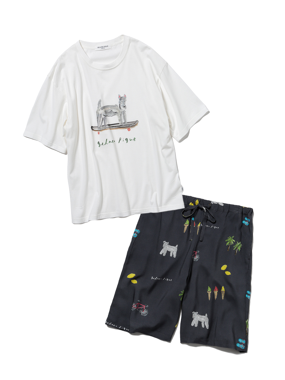 【ラッピング】【HOMME】サマーモチーフ柄Tシャツ&ハーフパンツSET