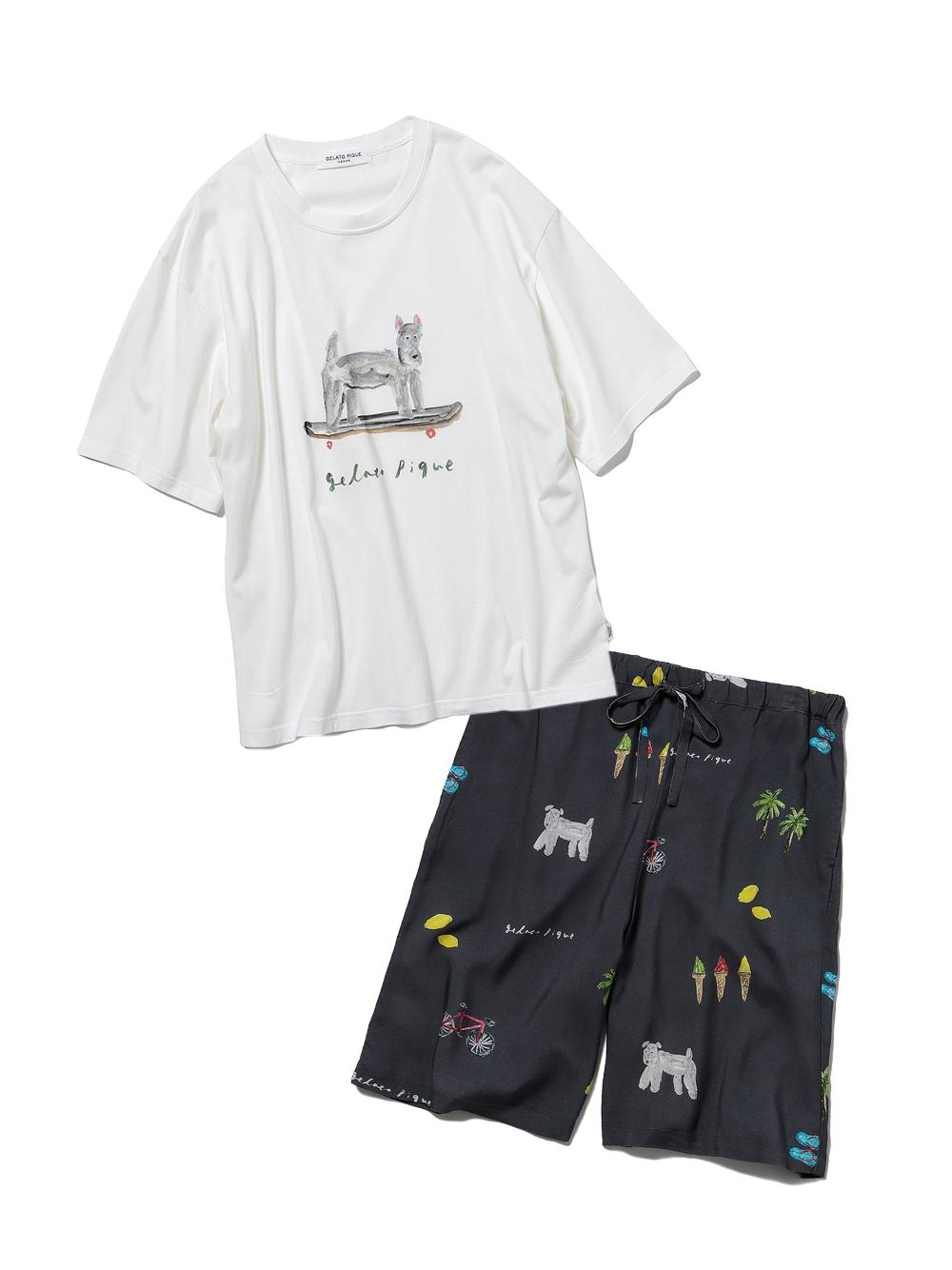 【ラッピング】【HOMME】サマーモチーフ柄Tシャツ&ハーフパンツSET(NVY-M)
