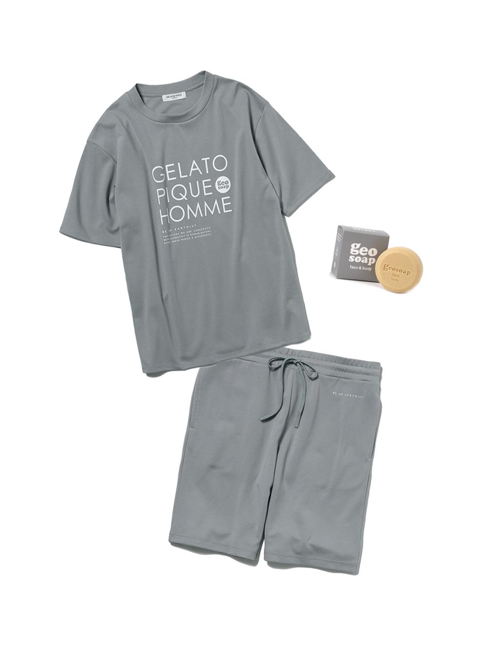 【ラッピング】【HOMME】【geo soap】ワンポイントTシャツ&ハーフパンツSET(GRY-M)