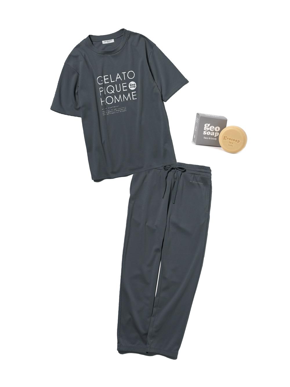 【ラッピング】【HOMME】【geo soap】ワンポイントTシャツ&ロングパンツSET(DGRY-M)