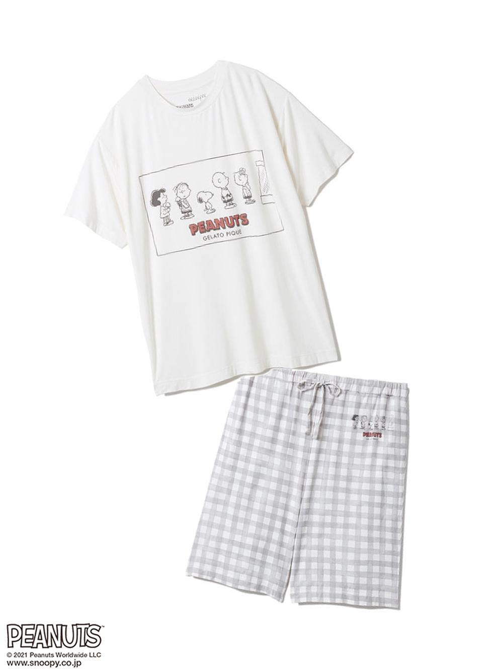 【ラッピング】【HOMME】【SNOOPY】ワンポイントTシャツ&ハーフパンツSET(OWHT-M)