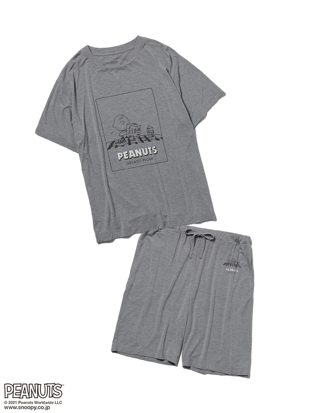 【ラッピング】【HOMME】【SNOOPY】ワンポイントTシャツ&ハーフパンツSET(GRY-M)