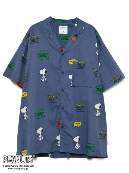 【PEANUTS】HOMME シャツ(NVY-M)