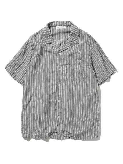 【GELATO PIQUE HOMME】リネンミックスストライプシャツ(CGRY-M)