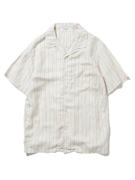 【GELATO PIQUE HOMME】リネンミックスストライプシャツ(ORG-M)