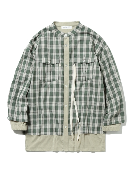 【GELATO PIQUE HOMME】チェックドッキングシャツ(GRN-M)