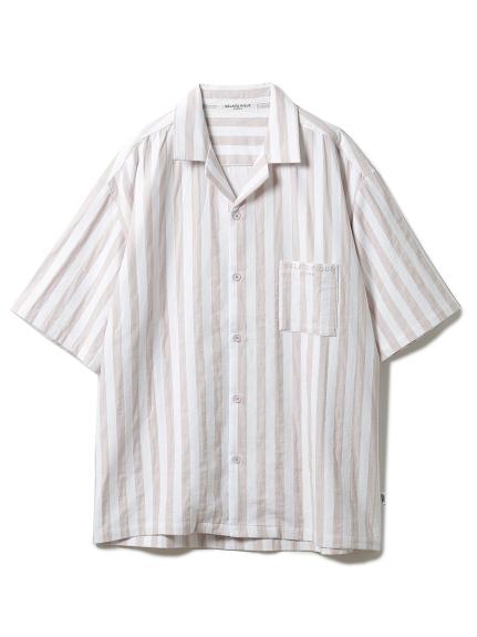 【GELATO PIQUE HOMME】 オーガニックコットンストライプシャツ(PNK-M)