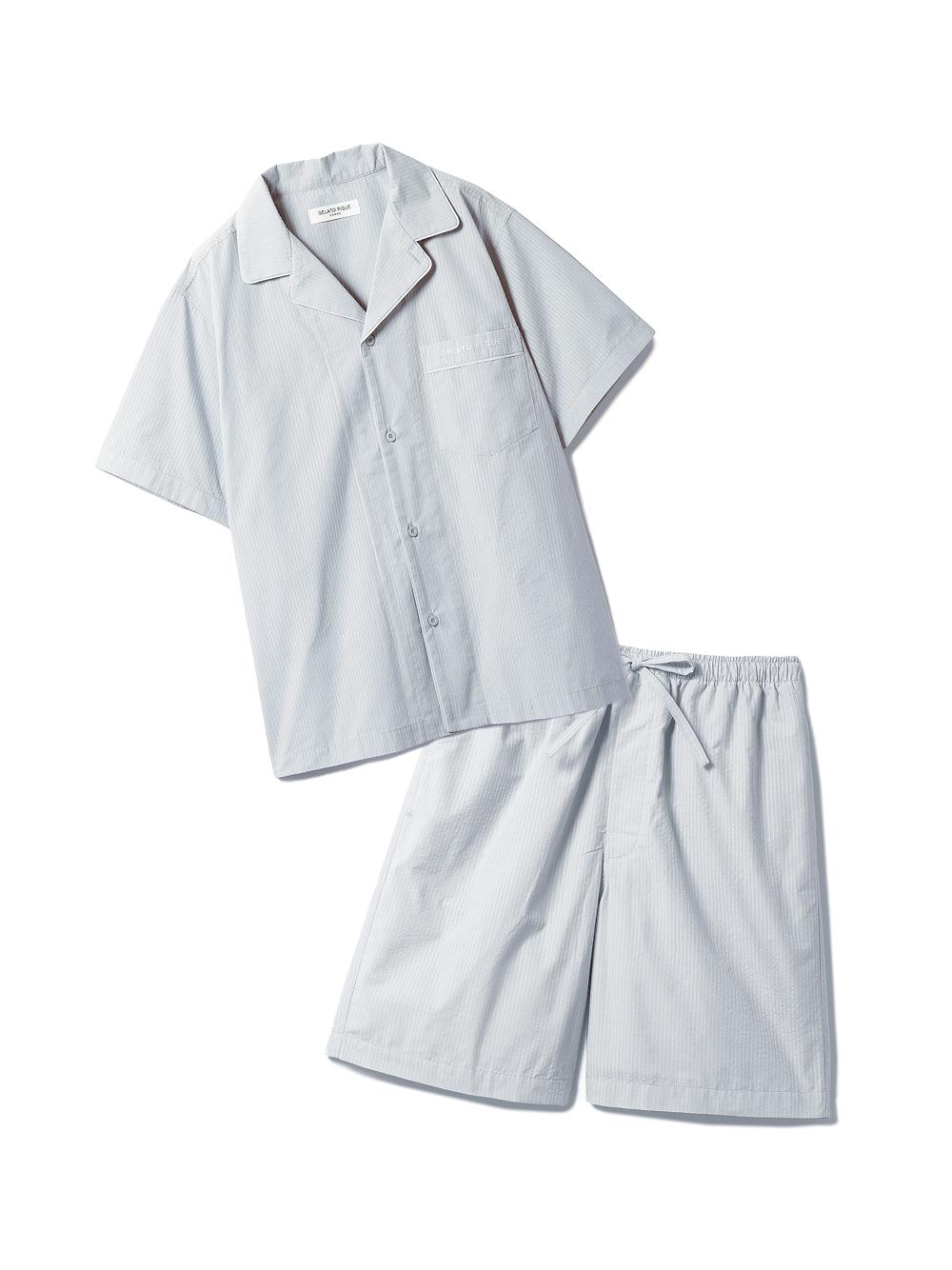 【ラッピング】【HOMME】クールMAXシャツ&ハーフパンツSET(BLU-M)