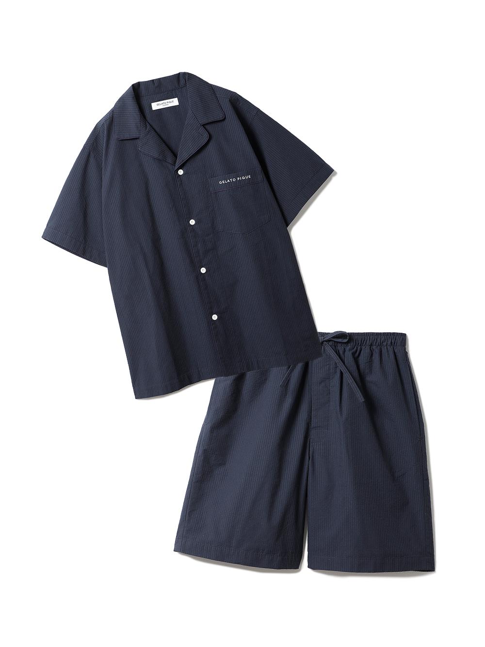 【ラッピング】【HOMME】クールMAXシャツ&ハーフパンツSET(NVY-M)