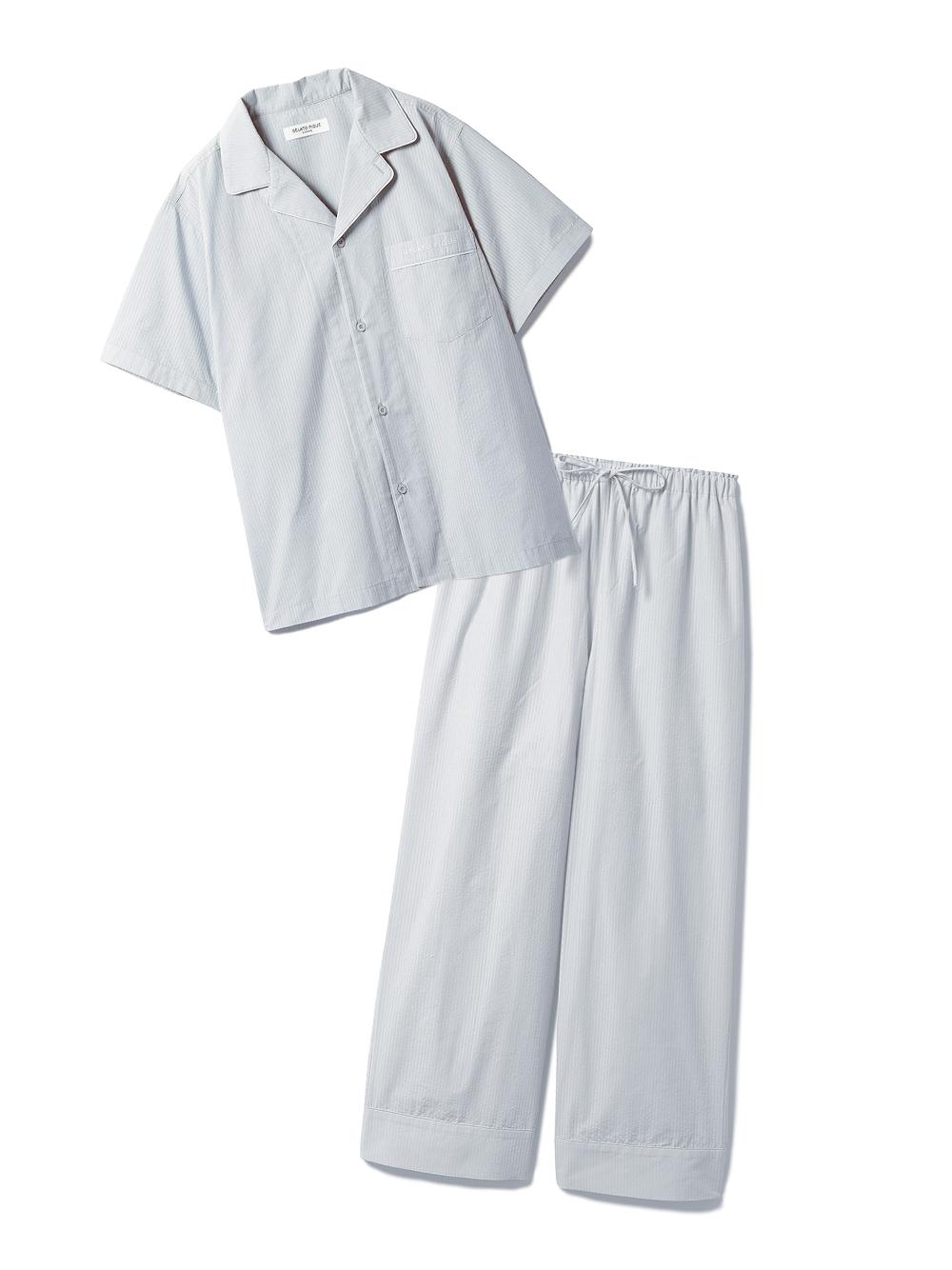 【ラッピング】【HOMME】クールMAXシャツ&ロングパンツSET(BLU-M)