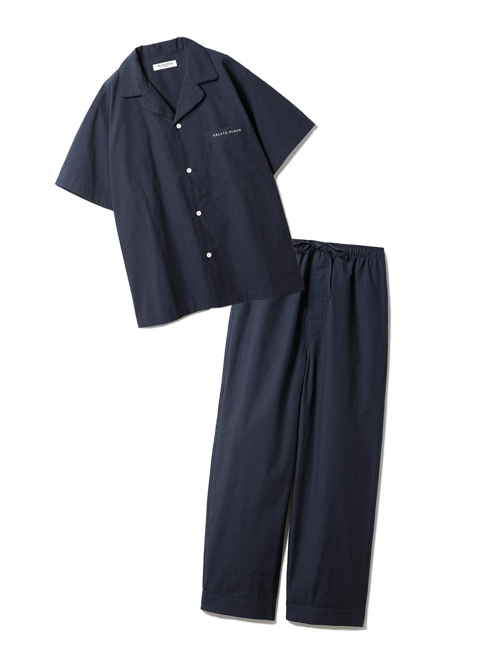 【ラッピング】【HOMME】クールMAXシャツ&ロングパンツSET(NVY-M)