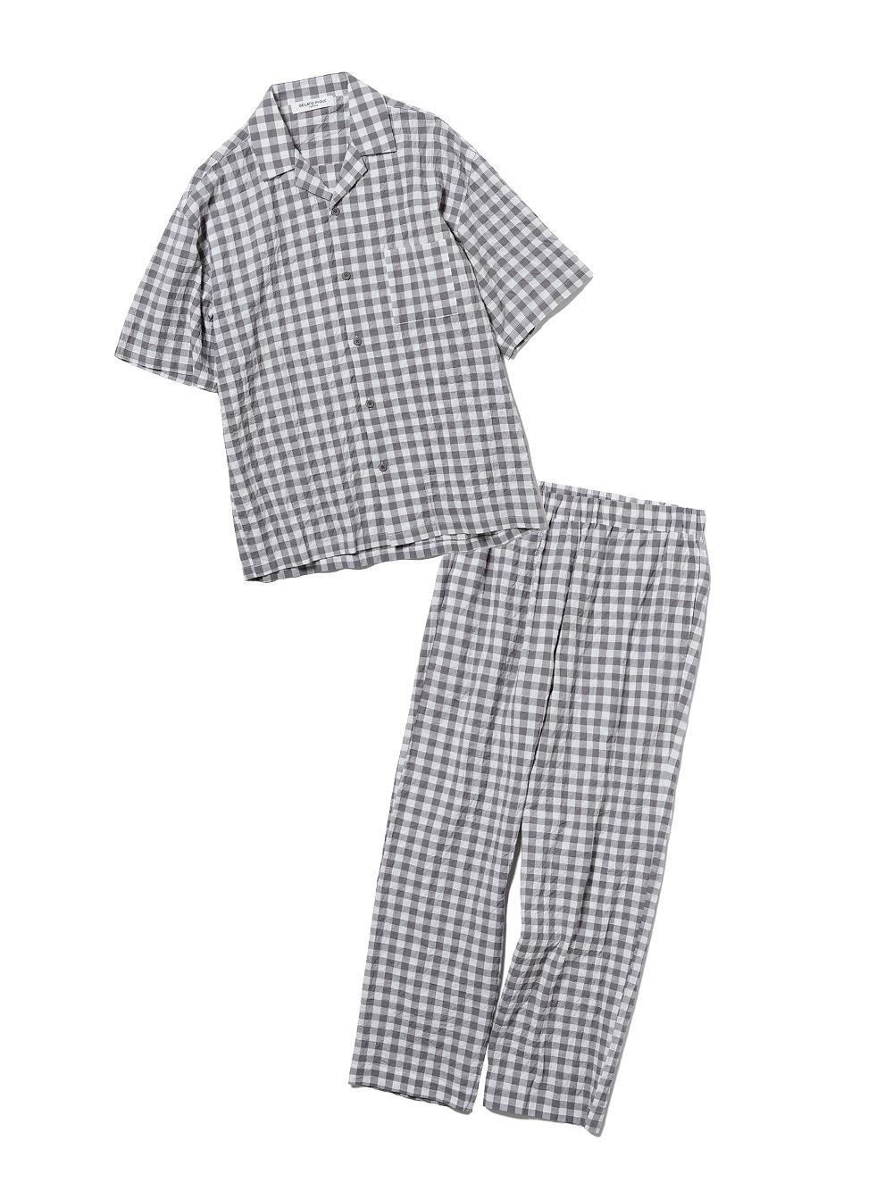 【ラッピング】【HOMME】オーガニックコットンギンガムチェックシャツ&ロングパンツSET