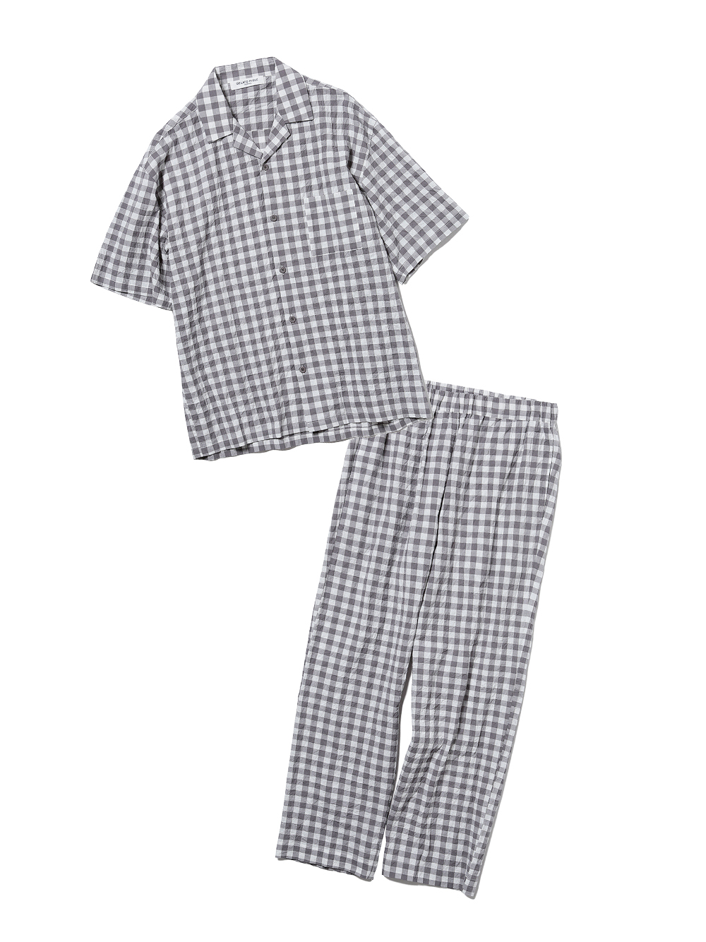 【ラッピング】【HOMME】オーガニックコットンギンガムチェックシャツ&ロングパンツSET(GRY-M)