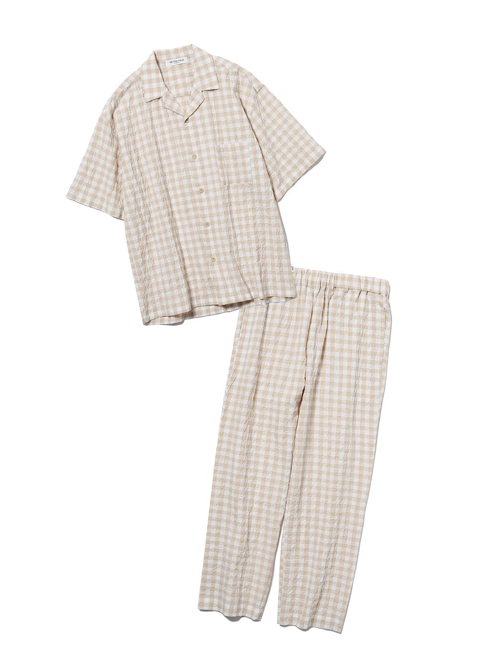 【ラッピング】【HOMME】オーガニックコットンギンガムチェックシャツ&ロングパンツSET(YEL-M)