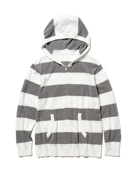 【GELATO PIQUE HOMME】'スムーズィーライト'2ボーダーパーカ(GRY-M)