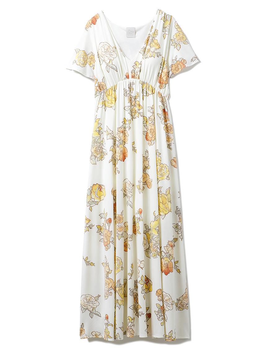 【ミュシャと四つの花】ローズフレアスリーブドレス