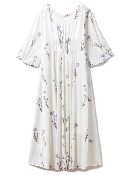 クリアフラワーロングスリーブドレス
