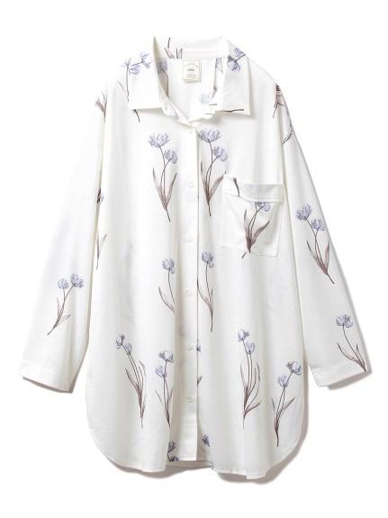 クリアフラワーシャツドレス(BLU-F)